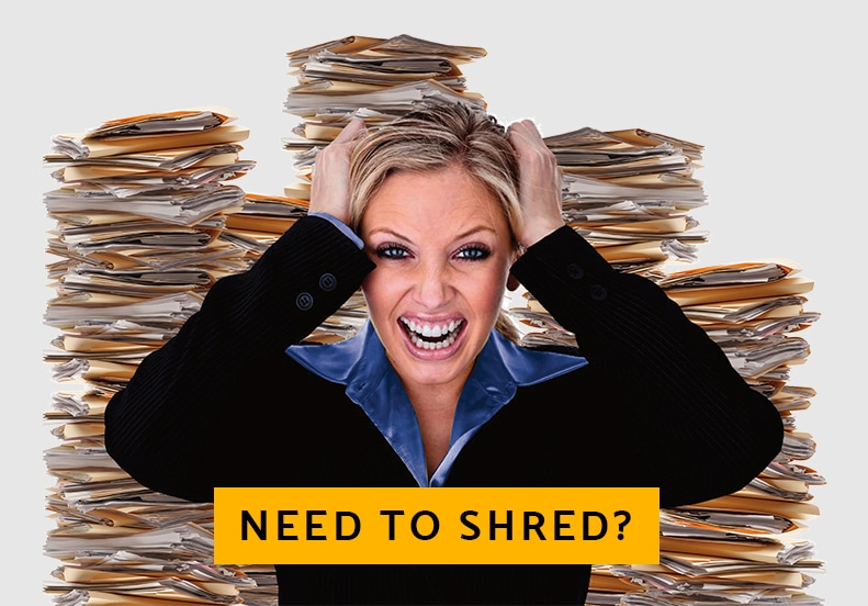 Frustrated Business Woman who Needs to shred paper in Florida?